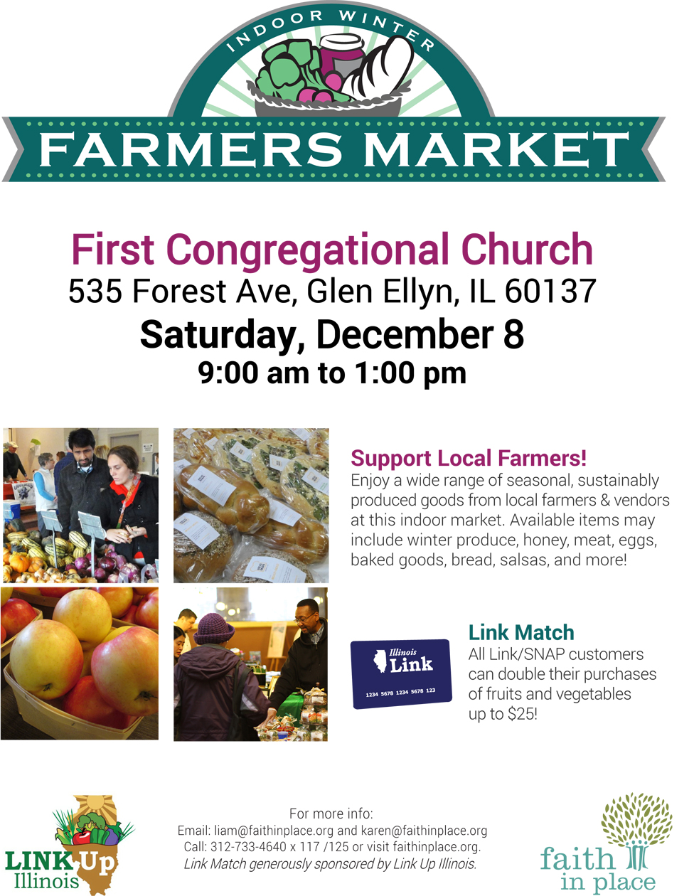 Farmer's Market December 8th, 9 AM – 1 PM